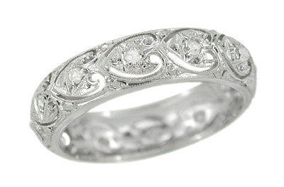Art Deco Windsor Hearts Antique Diamond Wedding Band in Platinum - Size 5