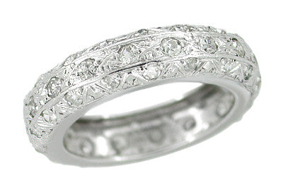 Platinum Vintage Art Deco Diamonds Wedding Band - Size 5 1/2