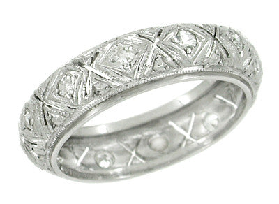 Storrs Platinum Art Deco Antique Diamond Wedding Ring - Size 5.75
