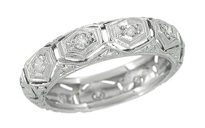 Towantic Vintage Platinum Art Deco Diamond Wedding Band - Size 5 3/4