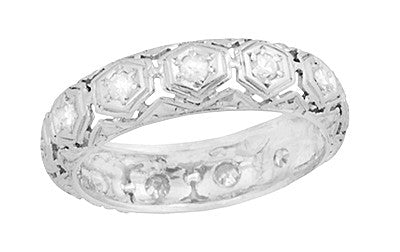 Art Deco Winstead Platinum and Diamond Antique Filigree Wedding Band - Size 5 1/2