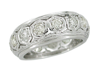 Art Deco Nantick Platinum Vintage Filigree Hexagons Wide Diamond Wedding Band - Size 5.75