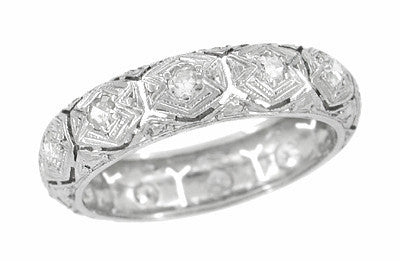 Art Deco Reeds Antique Diamond Wedding Band in Platinum - Size 5 1/2