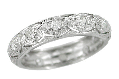 Savin Filigree Engraved Art Deco Estate Platinum Diamond Wedding Band - Size 6