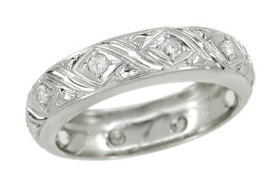 Hebron Art Deco Diamond Geometric Pattern Vintage Wedding Band in Platinum - Size 6