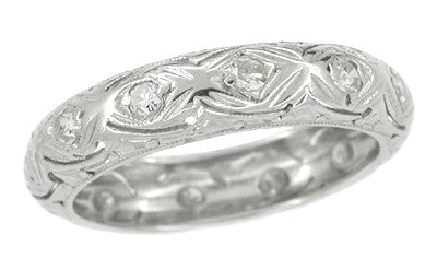 Art Deco Rivercliff Diamond Antique Wedding Band in Platinum - Size 6 1/2