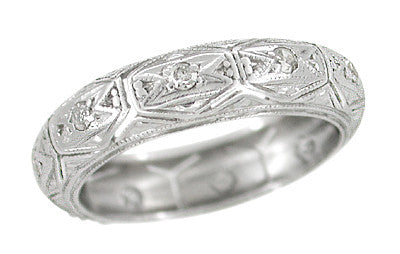 Platinum Art Deco Antique Engraved 6 Pointed Star Hopeville Diamond Wedding Ring - Size 6.5