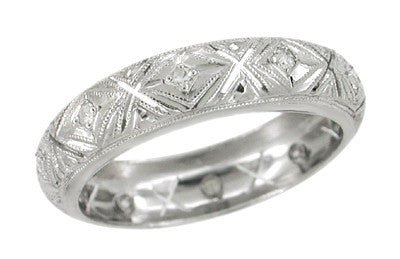 Seymour Art Deco Vintage Diamond Wedding Band in Platinum - Size 6 1/2