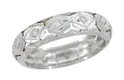 Roton Art Deco Vintage Diamond Eternity Ring in Platinum - Size 6.5