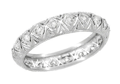 Antique Mianus Art Deco Rose Cut Diamonds Platinum Filigree Wedding Ring