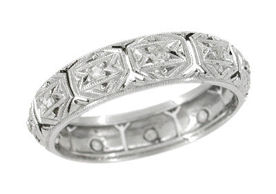 Art Deco Vintage Star of David Diamond Wedding Band in Platinum - Size 6 3/4