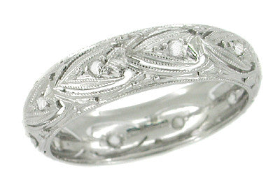 Rotona Art Deco Vintage Diamonds in Hearts Platinum Filigree Wedding Band