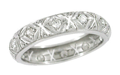Art Deco Oronoque Antique Diamond Wedding Band in Platinum - Size 7