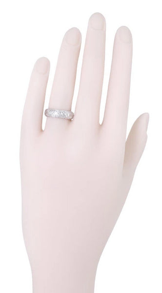 Easton Art Deco Vintage Wide Diamond Wedding Band in Platinum - Size 7 - Item: R563 - Image: 1