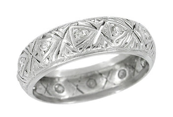 Easton Art Deco Vintage Wide Diamond Wedding Band in Platinum - Size 7