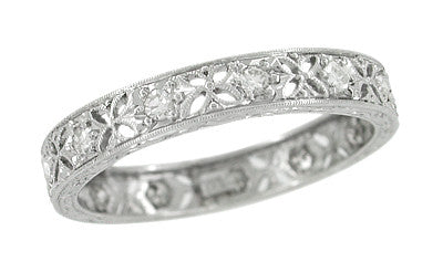 Edwardian Diamond Set Antique Wedding Band in Platinum - Size 7