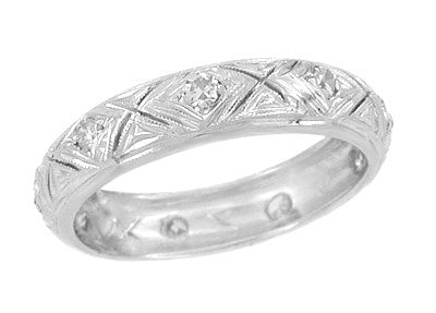 Elliott Art Deco Diamond Vintage Wedding Ring in 18K White Gold - Size 7