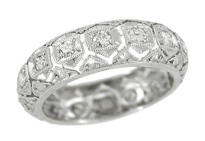Art Deco Shailerville Antique Diamond Filigree Wedding Band in Platinum - Size 7