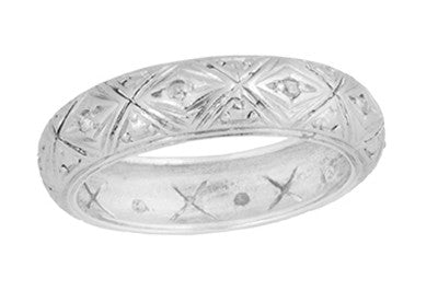 Art Deco Hartland Filigree Heirloom Rose Cut Diamond Antique Engraved Wedding Band in Platinum - Size 7 1/4