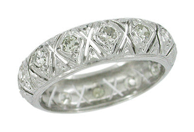 Vintage Platinum Totoket Art Deco Diamond Eternity Wedding Band