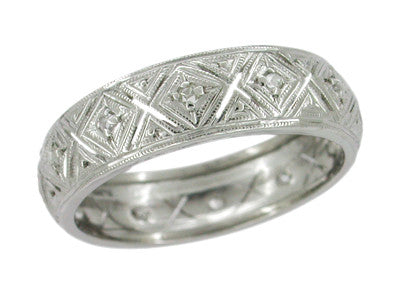 Momaugin Art Deco Filigree Antique Diamond Wedding Ring in 14K White Gold - Size 7.5