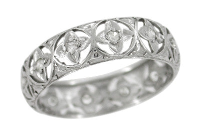 Art Deco Lucky Clover Filigree Estate Diamond Wedding Band - Platinum - Size 7.5