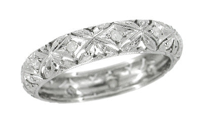 Woodmont Flowers Vintage Diamond Wedding Ring - Platinum - Size 10