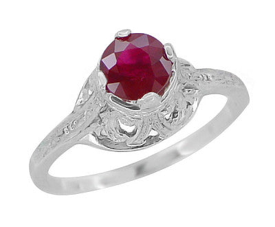 "Filigree Regal Scrolls ""High-Set"" Ruby Art Deco Engagement Ring in Platinum - Item: R584P - Image: 1"