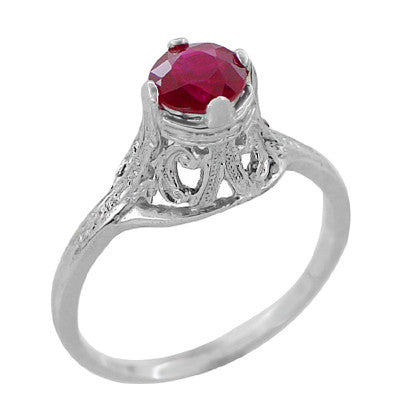 "Filigree Regal Scrolls ""High-Set"" Ruby Art Deco Engagement Ring in Platinum"