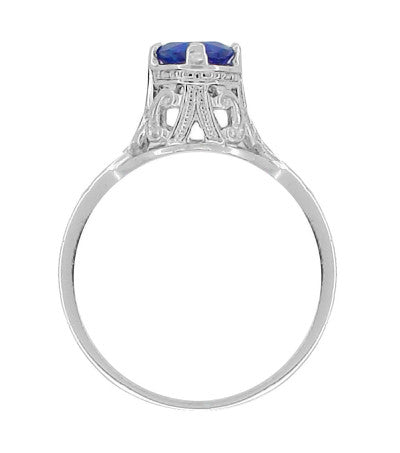 "Filigree Regal Scrolls ""High-Set"" Art Deco Blue Sapphire Engagement Ring in Platinum - Item: R586P - Image: 2"