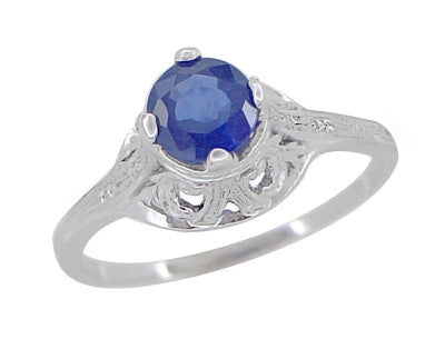 "Filigree Regal Scrolls ""High-Set"" Art Deco Blue Sapphire Engagement Ring in Platinum - Item: R586P - Image: 3"