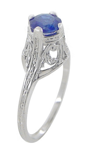 "Filigree Regal Scrolls ""High-Set"" Art Deco Blue Sapphire Engagement Ring in Platinum - Item: R586P - Image: 1"