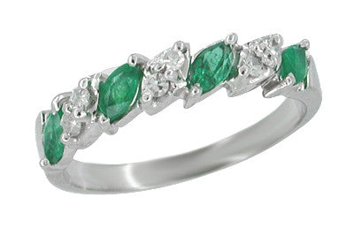 Vintage Mid Century Emerald and Diamond Anniversary Ring in 14 Karat White Gold