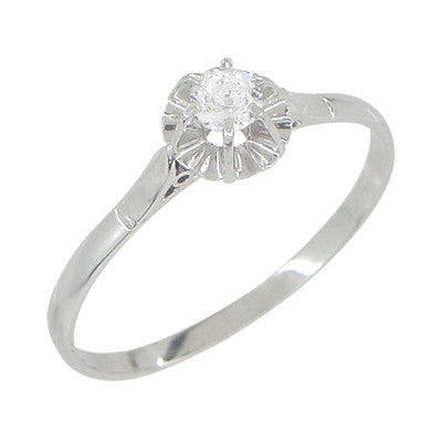 Buttercup Solitaire Filigree Antique Engagament Ring in Platinum - Item: R590 - Image: 1