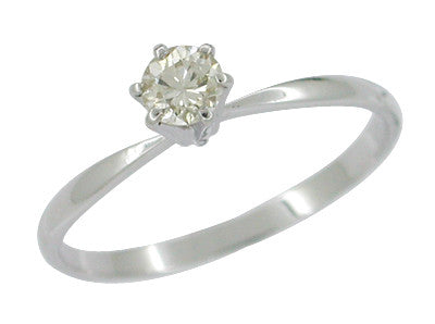 Estate High Set 0.26 Carat Diamond Solitaire Engagement Ring in 14 Karat White Gold