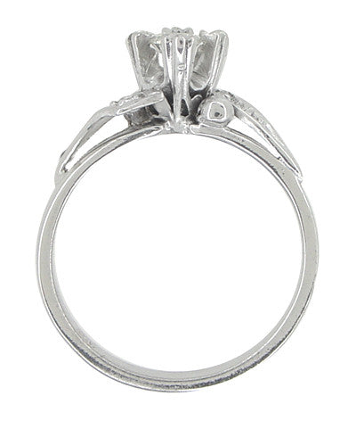 Retro Moderne Diamond Bypass Antique Engagement Ring in 18 Karat White Gold - Item: R597 - Image: 1