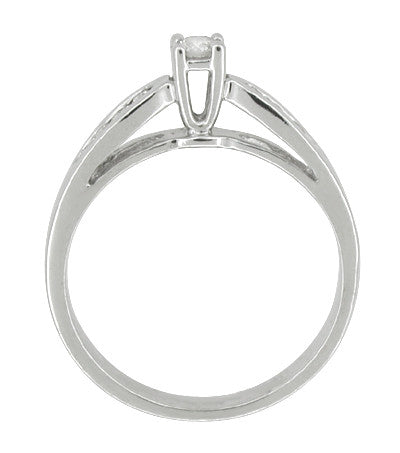 Solitaire Vintage Engagement Ring with Channel Set Diamond Shoulders in 10 Karat White Gold - Item: R602 - Image: 1