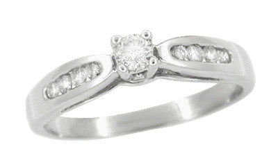 Solitaire Vintage Engagement Ring with Channel Set Diamond Shoulders in 10 Karat White Gold