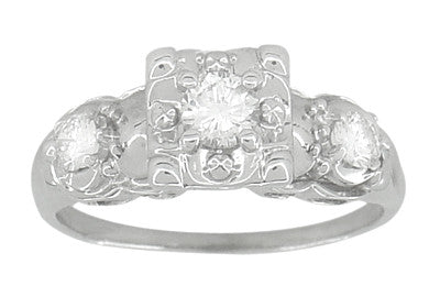 Retro Moderne Fishtail Illusion Antique Diamond Engagement Ring in 14 Karat White Gold - Item: R603 - Image: 2