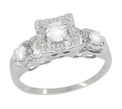 Retro Moderne Fishtail Illusion Antique Diamond Engagement Ring in 14 Karat White Gold