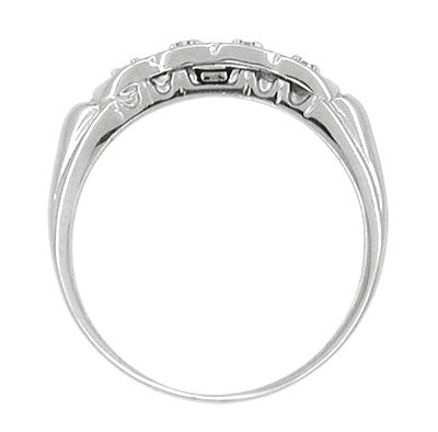 Scalloped Diamond Antique Wedding Band in 14 Karat White Gold - Item: R604 - Image: 1