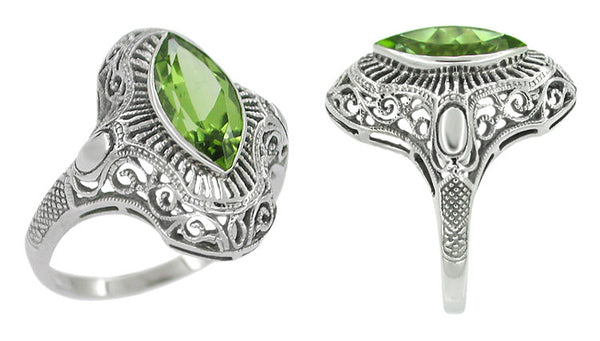 Art Deco Peridot Filigree Cocktail Ring in 14 Karat White Gold - Item: R611 - Image: 1