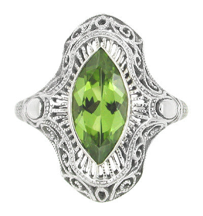 Art Deco Peridot Filigree Cocktail Ring in 14 Karat White Gold