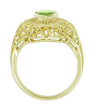Art Deco Peridot Filigree Cocktail Ring in 14 Karat Yellow Gold - Item: R611Y - Image: 2