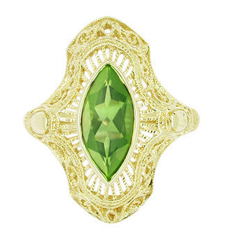 Art Deco Peridot Filigree Cocktail Ring in 14 Karat Yellow Gold - Item: R611Y - Image: 1