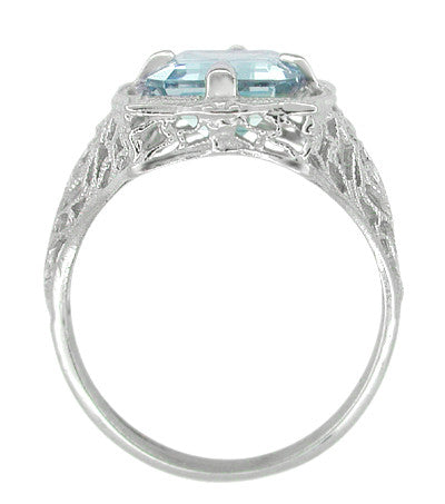 Art Nouveau Filigree Emerald Cut Aquamarine Ring in 14 Karat White Gold - Item: R612 - Image: 3