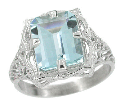 Art Nouveau Filigree Emerald Cut Aquamarine Ring in 14 Karat White Gold - Item: R612 - Image: 1
