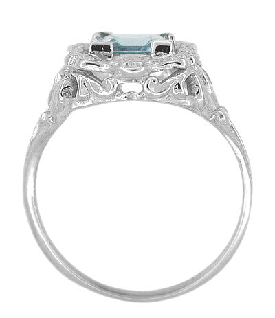 Princess Cut Aquamarine Art Nouveau Ring in 14 Karat White Gold - Item: R615 - Image: 3