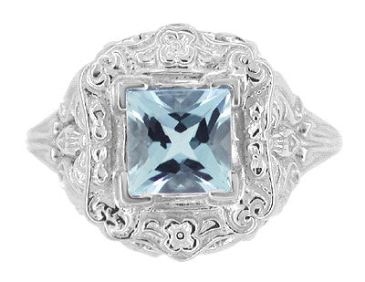 Princess Cut Aquamarine Art Nouveau Ring in 14 Karat White Gold - Item: R615 - Image: 4
