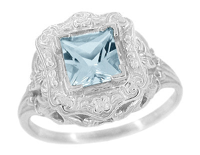 Princess Cut Aquamarine Art Nouveau Ring in 14 Karat White Gold - Item: R615 - Image: 1